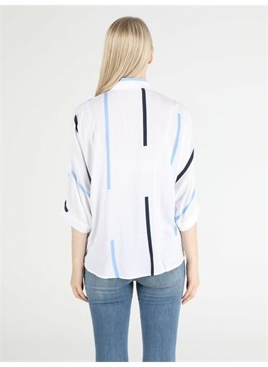 Colin's CL1049004_Q1.V1_WHT Blouse 3/4 Kol V Yaka Beyaz Kadın Gömlek Uzun Kol Beyaz